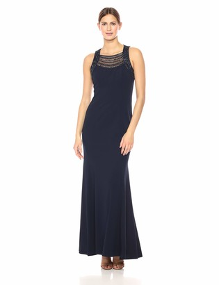 Vince Camuto Women's Sleeveless Gown with Beaded Neckline