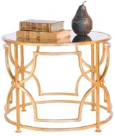 The Well Appointed House Worlds Away Tess Gold Leaf Round Cocktail Table with Antique Mirror Top