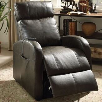 Ricardo Faux Leather Power Recliner A&J Homes Studio Fabric: Dark Gray