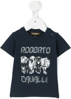 Roberto Cavalli big cat print logo T-shirt