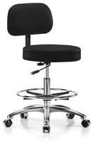 Height Adjustable Exam Stool with Foot Ring Perch Chairs & Stools Color: Black Fabric