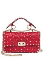 Valentino Rockstud Small Quilted Leather & Chain Top-Handle Bag
