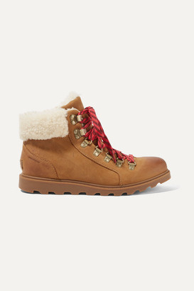 Sorel Ainsley Conquest Shearling-trimmed Waterproof Leather Ankle Boots - Tan
