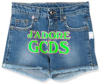 GCDS Blue Cotton Blend Denim Shorts