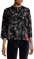 Plenty by Tracy Reese Women's Smocked Crewneck Blouse