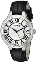 So & Co New York Madison Women's Quartz Watch with Silver Dial Analogue Display and Black Leather Strap 5052L.1