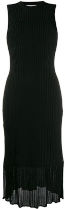 Victoria Beckham Sleeveless Ribbed Midi Dress