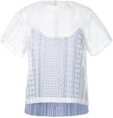 Sacai layered open embroidery top - women - Cotton/Polyester - 2