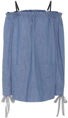 Miu Miu Denim off-the-shoulder dress