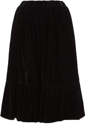 Comme des Garçons Comme des Garçons Gathered-hem Velvet Skirt - Black