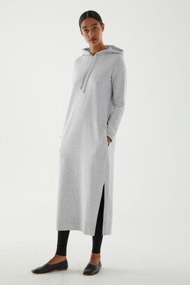 Cos Organic Cotton Split Seam Hooded Sweatshirt Dress