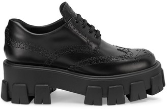 Prada Lug-Sole Leather Derby Shoes