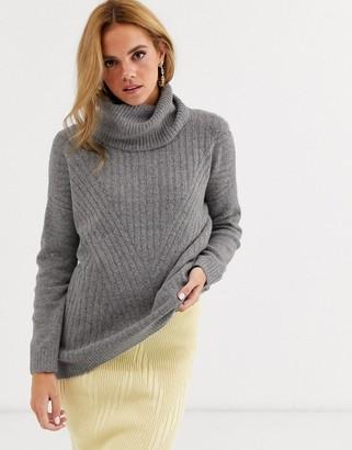 Miss Selfridge roll neck chunky sweater in gray