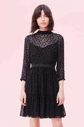 Rebecca Taylor Velvet Dot Jacquard Dress