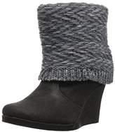 Muk Luks Women's Sienna Wedge Boots Wheeled Heel Shoe,6 Medium US