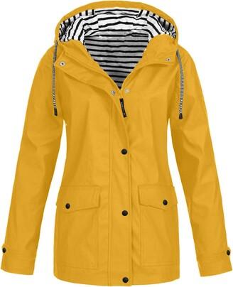 CHMORA Women Waterproof Coats Ladies Long Sleeve Outdoor Hooded Winderproof Jacket Lightweight Active Raincoat Windbreaker Outdoor Zipped Trench Coats Yellow