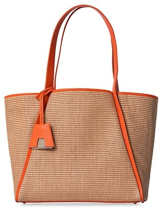 Akris Small Alex Leather-Trimmed Raffia Tote