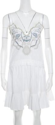 Chloé White Blossom Embroidered Cotton Pleated Mini Dress S