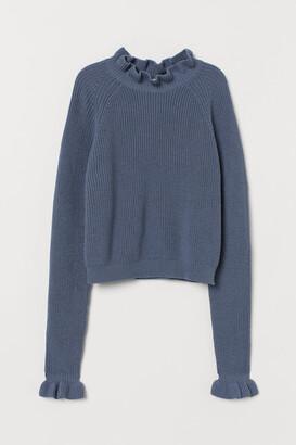 H&M Frill-trimmed ribbed jumper