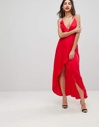 Asos Tall Frill Front Plunge Nightwear Maxi Slip-Red