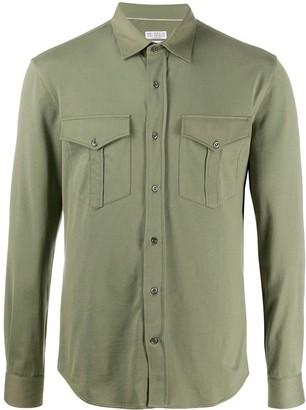 Brunello Cucinelli Double Pocket Curved Hem Shirt