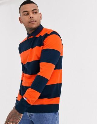 Topman rugby shirt in in blue stripe