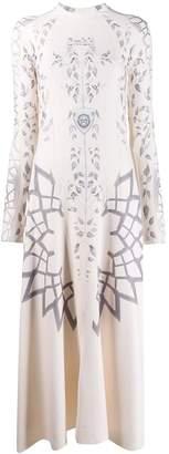 GmbH Elif leaf-print flared-hem dress