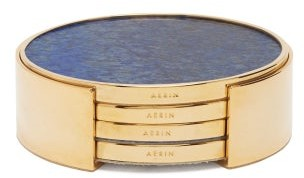 AERIN Set Of Four Lucas Lapis Coasters - Blue Gold