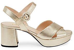 Prada Women's Crisscross Metallic Leather Platform Sandals