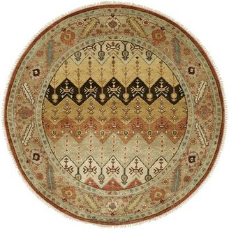 Wildon Home Chevron Hand Knotted Wool Brown/Gold Area Rug Rug Size: Round 8'