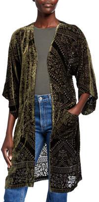 Johnny Was Leekie Long Velvet Pattern Kimono