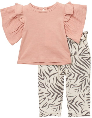 Jessica Simpson Ruffle Sleeve Top & Patterned Pants