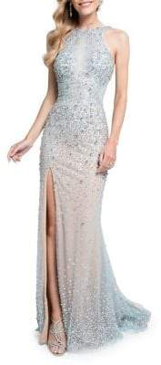 Terani Couture Glamour By Embellished Mesh Evening Gown