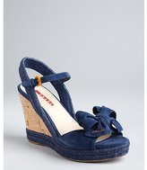 Prada Sport ink blue suede and jute ankle strap wedges