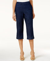Alfred Dunner Petite Embroidered-Diamond Denim Capri Pants