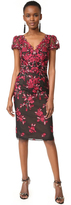 Marchesa Threadwork Embroidered Sheath Dress