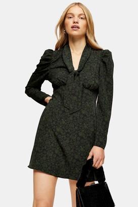 Topshop Khaki Archive Print Tie Neck Mini Dress