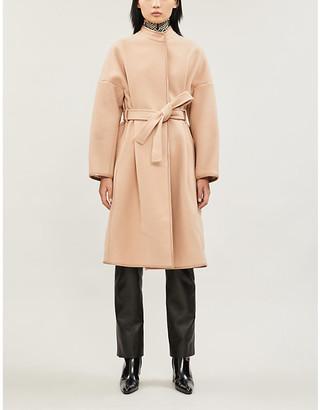 Pinko Sognare patent-trim wool-blend coat
