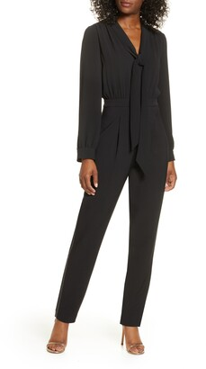 Maggy London Glitter Side Stripe Long Sleeve Jumpsuit