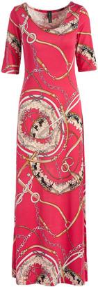 Modern Touch Women's Maxi Dresses Fuchsia - Fuchsia & Tan Status Half-Sleeve Maxi Dress - Women