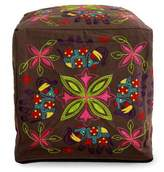 Multi Color Embroidered Cotton Ottoman Cover, 'Elephant Blooms'