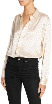 Saint Laurent Long-Sleeve Silk Satin Button-Down Shirt