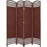 Oriental Furniture Good Deal Best Discount Room Divider, 5.5-Feet Open Diamond Weave Natural Fiber Folding Screen
