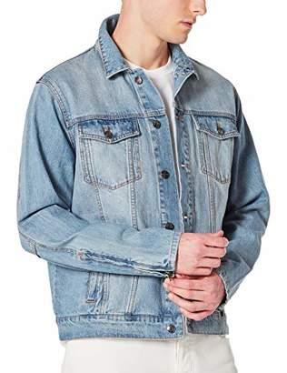 DANNE MORA Men's Denim Jacket Casual Loose Jean Jacket with Zipper Cuffs