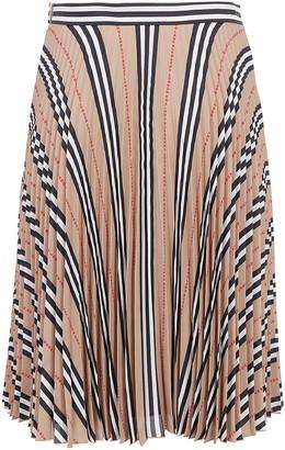 Burberry Icon Stripe Pleated Midi Skirt