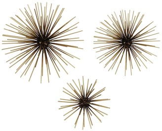 Stratton Home Black and Gold Starburst Metal Wall Art - Set of 3