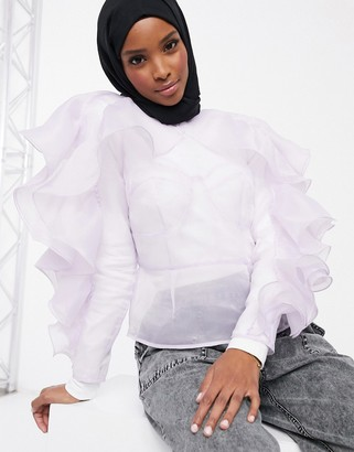 Asos DESIGN long sleeve organza top with ruffle sleeve and corset stitch detail in Lilac