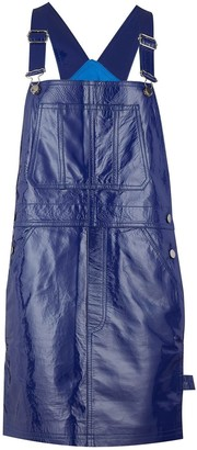 Manley Alexa Patent Leather Dungaree Dress Blue