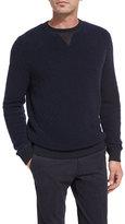 Ermenegildo Zegna Boucle Cashmere-Silk Leather-Trim Pullover, Navy