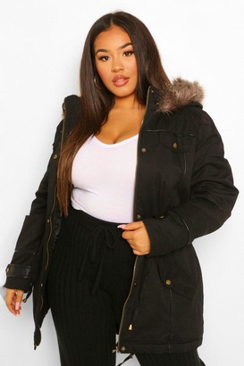 boohoo Plus Parka Coat With Faux Fur Trim Hood